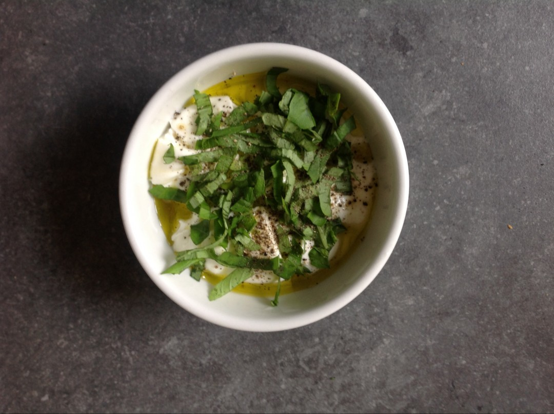Fresh burrata with basil and olive oil
